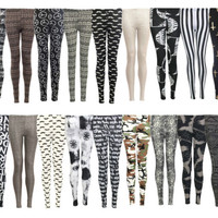 LADIES WOMENS SIZE 8-14 LEGGINGS PATTERNED WET LOOK AZTEC PRINTED CROSS SKULL