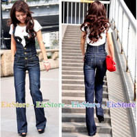 Women Ladies Girl Casual Overall Cowboy Washed Halter Jumpsuit Jeans Pants