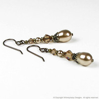 Old Hollywood Pearl Drop Earrings by whimsydaisydesigns on Etsy