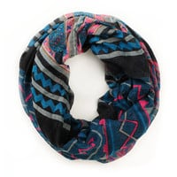 D&amp;Y Mixed Navy Blue Tribal Print Infinity Scarf