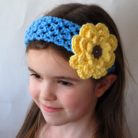 Girls Blue Crochet Headband with Yellow Flower