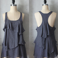 RAIN - Romantic gray flowy tier blouse // tunic // tank top // racerback // charcoal grey // sleeveless
