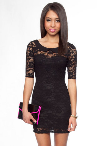 Abby Lace Dress with Peter Pan Collar in Black :: tobi
