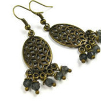Chandelier Earrings in Labradorite - leafandtendril.com