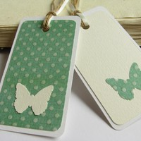 Butterflies And Green Gift Tag Bookmarks (set Of 2) | Luulla