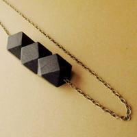 Black Wooden Necklace / GeometricTribal Necklace/ Cube Wooden Bead/ Boho Wooden Necklace, 4everinstlye