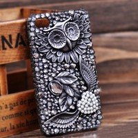 retro fashion love diamond/Rhinestone  owl case for iphone 4/4s from Fancy Mall