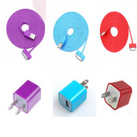 Total 6pcs/lot! Colouful 3PCS USB Cord with Charger For Iphone 4/4s