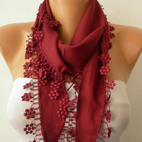 Burgundy  Scarf   Pashmina  Scarf  Headband Necklace by fatwoman-x4h