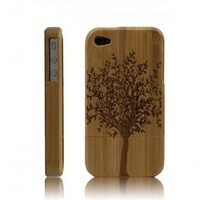 Best Handmade Carved Bamboo iPhone 4 &amp; 4s Cases- A Big Tree-dark