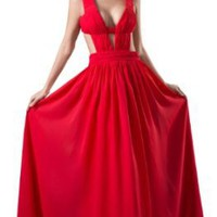Amazon.com: SITANG V-Neck A-Line Evening Gowns Sexy Ruched Red: Clothing