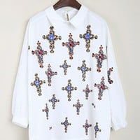Vintage Cross Bat Sleeve White Shirt$46