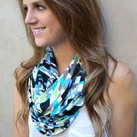 Geometric Infinity Scarf, Loop Scarf, Tube Scarf, Black, White, Apple Green, Teal, Periwinkle, Taupe