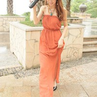 Orange Sexy Chiffon Dress$46