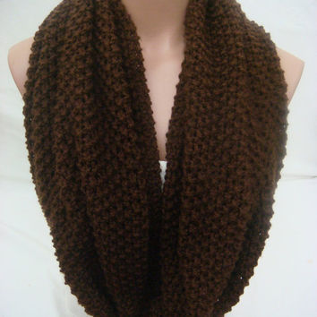 Hand Knitted Hooded Cowl/Scarf/Neck Warmer/Loop Scarf (Chocolate Brown) by Arzu's Style