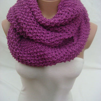 Knitted Hooded Cowl/Scarf/Neck Warmer (Magenta) by Arzu's Style