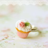 Cupcake Ring, Romantic Pink Rose Cupcake Ring