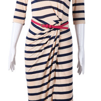 Blue Apricot Striped Half Sleeve Pleated Dress - Sheinside.com