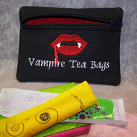 Vampire Tea Bags Tampon &amp; Maxi Pad Bag Zippered Fabric Purse Pouch / Tampon Keeper