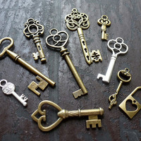 Whoesale Lot 10pcs Steampunk Victorian wholesale antique bronze skeleton key pendant charm necklace Alice in Wonderland 50 jewelry