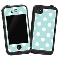 "White Polka Dot on Mint ""Protective Decal Skin"" for LifeProof 4/4S Case"