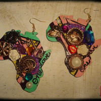 Jumbo Statement Earrings Teal Pink Purple Africa One by VskiiLove