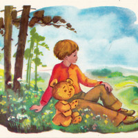 Postcard Illustration by Sorokina (A. A. Milne - Winnie-the-Pooh) no.7 - 1976. Fine Arts, Moscow