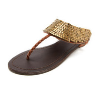 Square-Bead Cuffed Sandal