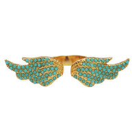Turquoise and Gold Elvie Wing Ring