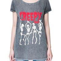 SPECIAL WASH 'CREEPY DANCE' PRINTED T-SHIRT - T-shirts - TRF - ZARA United States