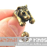 Realistic Tiger Animal Wrap Around Hug Ring in Brass - Sizes 4 to 9