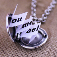 Tiny Charm Locket Necklace  You Had Me At by HeartworksByLori