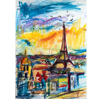 Paris Expressions REPRODUCTION 30 by 20 inches Giclee on Canvas  from original Painting by Ginette