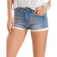 High Waisted Crochet Trim Short: Charlotte Russe