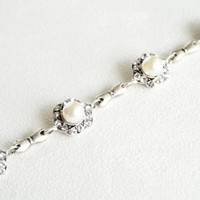 art deco clear crystal swarovski pearl rhinestone tibetan silver plated adjustable bracelet wedding bridal jewelry bridesmaids jewelry set