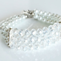 wedding white glass pearl cuff chunky bracelet rhinestone crystal bracelet wedding bridal jewelry bridesmaids bracelet