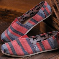 Toms Ladies Shoes - PinK &amp; Gray Stripes  -  Canvas  -  NWT