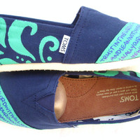 The Manny Teal and Navy Custom TOMS by FruitfulFeet on Etsy