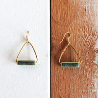 BLUEGREEN TRIANGLE EARRINGS / squared porcelain by SOFTGOLDSTUDIO