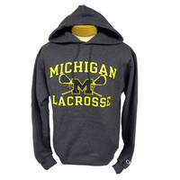 The M Den -  Champion University of Michigan Lacrosse Graphite Hooded Swe