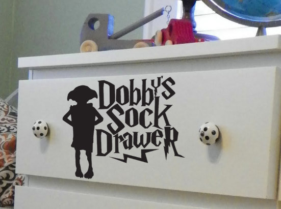 Dobby's Sock Drawer Dresser Decal by PeelAndStickDecals on Etsy