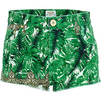 Green palm print super short denim hotpants