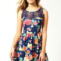 Alice Floral Lace Yoke Pearl Trim Dress