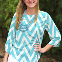 EVERLY: Joy For Chevron Top: Turquoise | Hope&#x27;s