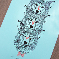 Wolf Totem - Two Color Modern Tribal Wolves Screen Print - Editon of 90 - by Bark Decor