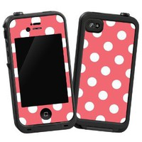 "White Polka Dot on Coral ""Protective Decal Skin"" for LifeProof 4/4S Case"