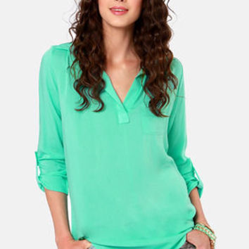 Wishing Well Mint Green Tunic Top
