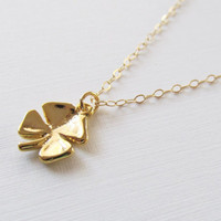 Gold Clover Necklace, 14kt Gold Filled Necklace, Gift for Her