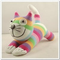 Handmade Sock Cheshire Cat Kitty Stuffed by supersockmonkeys