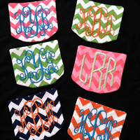 DIY monogrammed chevron pocket for t-shirts